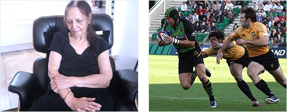 2 images - an elderly lady holds her forearm and 3 rugby players during a match