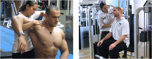 2 images - Heather treating a bodybuilder's neck and Heather treating a man's shoulder in a gym