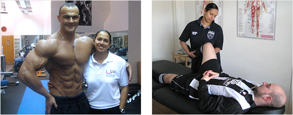 2 images - Heather Pearson with Justin Maguire, Heather treating a footballer's knee