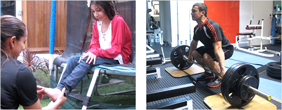 2 images - Heather Pearson treating a young girl's anckle and a man lifting a heavy weight in a gym