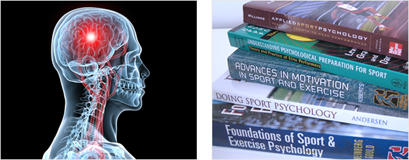 2 images - and X-Ray cross section illustration of head and brain and a stack of sports psychology books