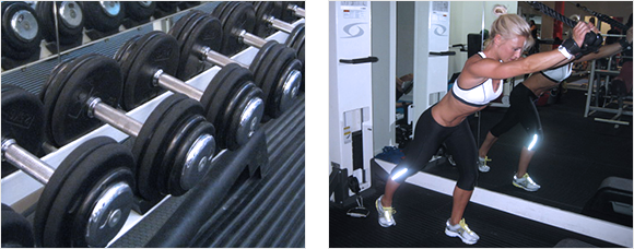 2 images - a rack of weights in a gym and a lady working out at a gym